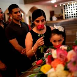 Mourners attend the public visitation service of Walmart shooting victim Margie Reckard, to which her husband Antonio Basco had invited the community in El Paso, Texas, US Aug 16, 2019. — Reuters