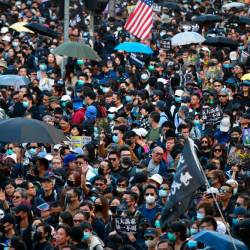 People take part in a pro-democracy rally from Victoria Park to Chater Road in Hong Kong on December 8, 2019. - AFP