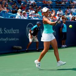 Ashleigh Barty returns a shot against Maria Sakkari (GRE) during the Western and Southern Open tennis tournament at Lindner Family Tennis Center. — Reuters