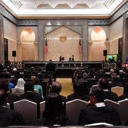 Chief Justice Datuk Tengku Maimun Tuan Mat delivers a speech at a ceremony held in honour of her appointment as the 16th Chief Justice in the Federal Court room, Putrajaya on May 17, 2019. - Bernama