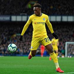 Chelsea's English midfielder Callum Hudson-Odoi controls the ball during the English Premier League football match between Everton and Chelsea at Goodison Park in Liverpool, north west England on March 17, 2019. — AFP
