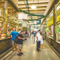 A city market scene in Australia - popular weekend venue to engage in entertainment and run errands.