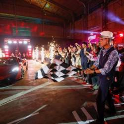 Malaysia Airports' Mohammad Nazli flagging off the grand prize of a McLaren 570S Coupé in the Licence to Win campaign.