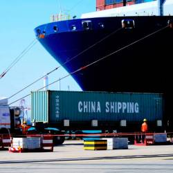 A container at the Qingdao Port Foreign Trade Container Terminal, in Qingdao, in China's eastern Shandong province. — AFP