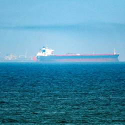 This picture taken on June 15, 2019 shows tanker ships in the waters of the Gulf of Oman off the coast of the eastern UAE emirate of Fujairah. — AFP