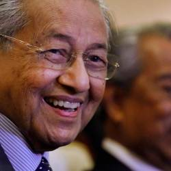 Prime Minister Tun Dr Mahathir Mohamad reacts during a news conference in Putrajaya, July 15, 2019. - Reuters