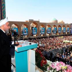 A handout picture provided by the Iranian presidency on November 10, 2019 shows president Hassan Rouhani delivering a speech to a crowd in the central city of Yazd. - AFP
