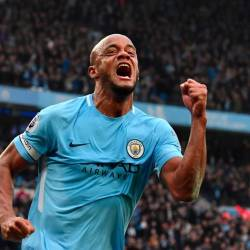 In this file photo taken on April 7, 2018 Manchester City's Belgian defender Vincent Kompany celebrates scoring the opening goal during the English Premier League football match between Manchester City and Manchester United at the Etihad Stadium in Manchester, north west England. — AFP