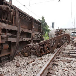 The sight of a derailed cargo train carrying cement near Rawang Station today.