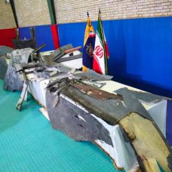 The purported wreckage of the American drone is seen displayed by the Islamic Revolution Guards Corps (IRGC) in Tehran, Iran June 21, 2019. - Reuters