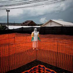 In this file photo taken on Nov 7, 2018 a health worker waits to handle a new unconfirmed Ebola patient at a newly build MSF (Doctors Without Borders) supported Ebola treatment centre (ETC) in Bunia, Democratic Republic of the Congo. — AFP