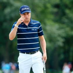 Justin Thomas of the United States reacts on the 18th hole during the first round of the BMW Championship at Medinah Country Club No. 3 on August 15, 2019 in Medinah, Illinois. — AFP