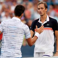 Novak Djokovic of Serbia congratulates Daniil Medvedev of Russia after their match during the Western & Southern Open at Lindner Family Tennis Center on Aug 17, 2019 in Mason, Ohio. - AFP