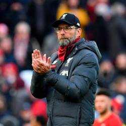 Liverpool's German manager Jurgen Klopp gestures at the final whistle during the English Premier League football match between Liverpool and Watford at Anfield in Liverpool, north west England on December 14, 2019. - AFP