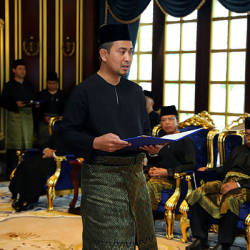 Datuk Dr Sahruddin Jamal as he was sworn in as the Johor Mentri Besar on April 14. — Bernama