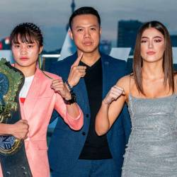 Stamp Fairtex and Alma Juniku stare down at ONE: LEGENDARY QUEST official face-off in Shanghai