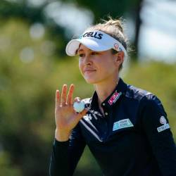 Nelly Korda of the US celebrates a birdie on the 11th during the final day of the women's LPGA Tour-sanctioned Australian Open golf championship at the Grange Golf Club in Adelaide on Feb 17, 2019. — AFP