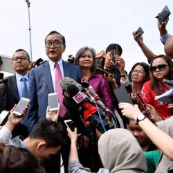 President of the Cambodia National Rescue Party (CNRP) Sam Rainsy during a press conference after holding a meeting at Parliament today. - Bernama
