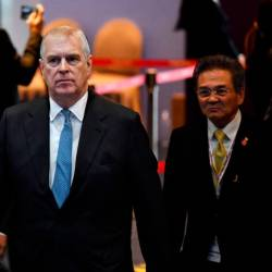 In this file photo taken on Nov 3, 2019, Britain's Prince Andrew, Duke of York arrives for the Asean Business and Investment Summit in Bangkok. — AFP