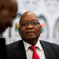 Former South African president Jacob Zuma leaves the Commission of Inquiry into State Capture on July 15, 2019 in Johannesburg, where he faces tough questioning over allegations that he oversaw systematic looting of state funds while in power. — AFP