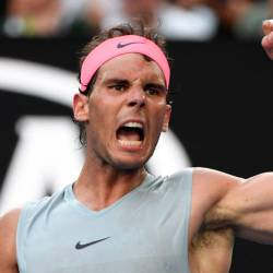 Spain's Rafael Nadal reacts after a point against Argentina's Diego Schwartzman during their men's singles fourth round match on day seven of the Australian Open tennis tournament in Melbourne on Jan 21, 2018. — AFP