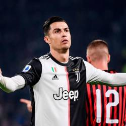 Juventus' Portuguese forward Cristiano Ronaldo reacts during the Italian Serie A football match Juventus vs AC Milan on November 10, 2019 at the Juventus Allianz stadium in Turin. - AFP