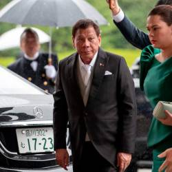 Philippines President Rodrigo Duterte arrives at the Imperial Palace to attend the proclamation ceremony of Japan's Emperor Naruhito's ascension to the throne in Tokyo on Oct 22, 2019. — AFP