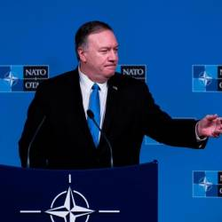 US Secretary of State Mike Pompeo speaks during a press conference as part of a Foreign Ministers meeting at the Nato (North Atlantic Treaty Organization) headquarters in Brussels on Nov 20. — AFP