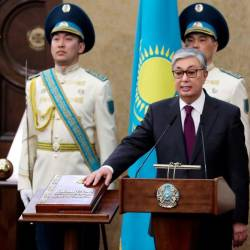 Kazakhstan's Senate chairman Kassym-Jomart Tokayev takes the oath as Kazakh interim president during a ceremony in Astana on March 20, 2019. — AFP