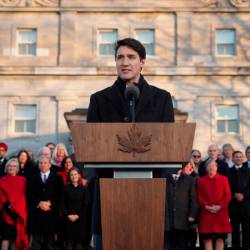 Canadian Prime Minister Justin Trudeau speaks after swearing-in his new cabinet during ceremony at Rideau Hall on Nov 20, in Ottawa, Canada. — AFP