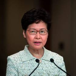 Hong Kong Chief Executive Carrie Lam takes part in her weekly press conference in Hong Kong on Oct 15, 2019. — AFP