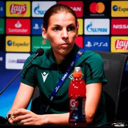 Referee Stephanie Frappart during the press conference. — Reuters