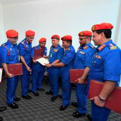 The Malaysian Civil Defence Force (APM) chief commissioner Datuk Roslan Wahab (4R) with APM deputy chief commissioner (Operations) Norhafifi Ismail (3R) after the wearing of ranks for APM officers at its headquarters in Jalan Maktab, Kajang, on Dec 5, 2019. — Bernama