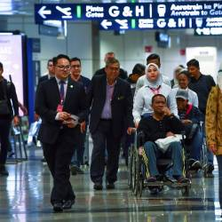 The six PKNS employees who were injured in a bus accident in Afyonkarahisar, Turkey arrived at KLIA on the night of October 22, 2019. - Bernama