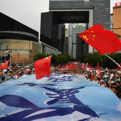 A rally by pro-government supporters in Hong Kong this weekend illustrated the polarisation coursing through the city. — AFP