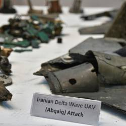 This photograph shows fragments of what the Saudi defense ministry said were Iranian cruise missiles and drones recovered from the attack on Saudi Aramco's facilities. — AFP