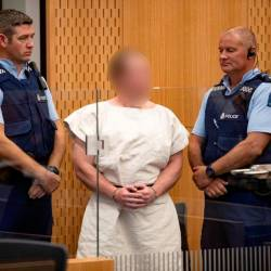 Brenton Tarrant, charged for murder in relation to the mosque attacks, is seen in the dock during his appearance in the Christchurch District Court, New Zealand March 16, 2019. — Reuters