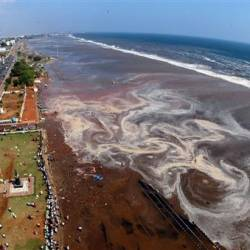 The aerial view of Marina beach after a tsunami triggered by an earthquake in the Indian Ocean hit the area in the southern Indian city of Madras on Dec 26, 2004. — Reuters