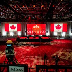 View of the inside of the Palais des Congres in Montreal, ready for Team Trudeau and supporters election night event in Montreal, Canada on Oct 21, 2019. — AFP