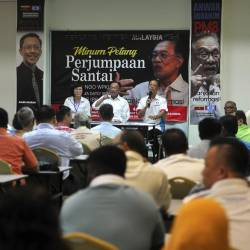 PKR president Datuk Seri Anwar Ibrahim speaks with representatives of NGOs during a 'PKR Presidential Tour' series on Aug 20, 2019. - Bernama
