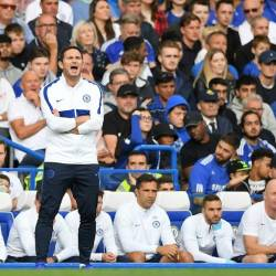 "Chelsea manager Frank Lampard shouts instructions during the draw with Leicester."" — AFP"