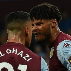 Aston Villa's Anwar El Ghazi (L) remonstrates with team-mate Tyrone Mings. — AFP