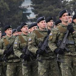 Members of Kosovo's security forces parade a day before parliament's vote on whether to form a national army, in Pristina, Kosovo Dec 13, 2018. — Reuters