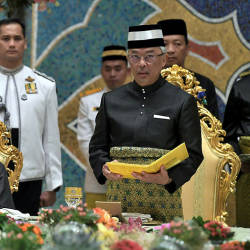 The Yang di-Pertuan Agong, Al-Sultan Abdullah Ri'ayatuddin Al-Mustafa Billah Shah deleivers a royal address in the presence of host the Sultan of Brunei Darussalam, Sultan Hassanal Bolkiah, at the Istana Nurul Iman, on Aug 20, 2019. — Bernama