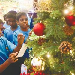 Children from the orphanage hanging their wishing cards on the Wishing Tree.