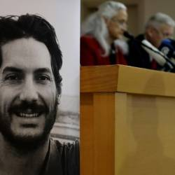 Missing journalist Austin Tice (L), and his parents Debra and Marc Tice, speaking in Beirut in Decemeber 2018. — AFP