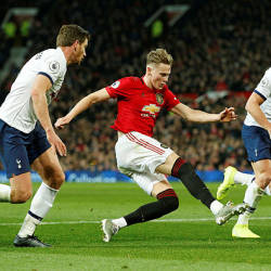 Manchester United's English midfielder Scott McTominay (C) in action with Tottenham Hotspur's Toby Alderweireld and Jan Vertonghenduring at the English Premier League football match between Manchester United and Tottenham Hotspur at Old Trafford, Manchester, Dec 4. — Reuters