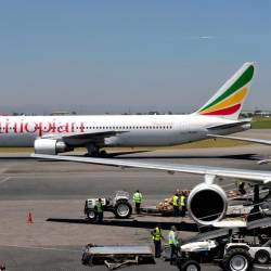 This file photograph taken on Jan 26, 2010, shows an Ethiopian Boeing 777 aircraft as it leaves a hanger in Nairobi. — AFP