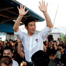 Thanathorn Juangroongruangkit of Thailand's progressive Future Forward Party reacts with his supporters at a sudden unauthorised rally in Bangkok, Thailand December 14, 2019. - Reuters