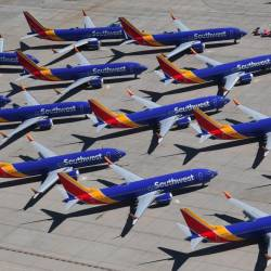 In this file photo taken on March 28, 2019 Southwest Airlines Boeing 737 MAX aircraft are parked on the tarmac after being grounded, at the Southern California Logistics Airport in Victorville, California. - AFP